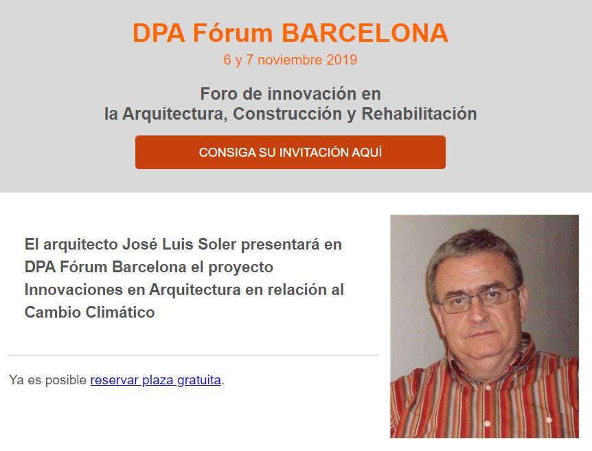El arquitecto José Luis Soler presentará en DPA Fórum Barcelona